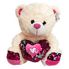 Urso de Pelucia Caramelo Coracao Rosa Lantejoulas