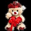 Urso de Pelucia Caramelo Coracao Vermelho Lantejoulas