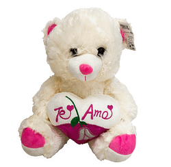 Urso de Pelucia Coracao Te Amo Rosa