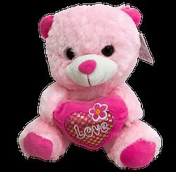 Urso de Pelucia Rosa Coracao Love Flor