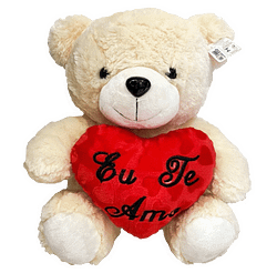 Urso de Pelucia Bege Coracao Eu Te Amo