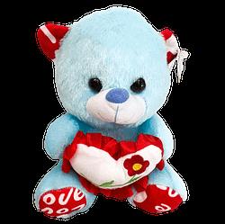 Urso de Pelucia Azul Coracao Flor