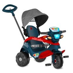 Triciclo Velobaby Reclinavel com Capota Passeio e Pedal Azul