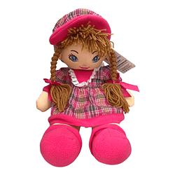 Boneca de Pano Vestido Xadrez Rosa