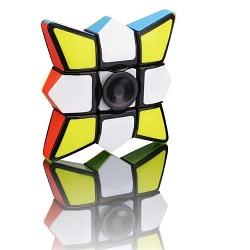 2 em 1 Cubo Mágico 1x3x3 e Hand Spinner Fidget Puzzle