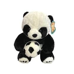 Urso Panda de Pelúcia com Bola de Futebol