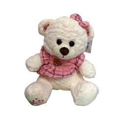 Urso de Pelúcia com Vestido Rosa Xadrez
