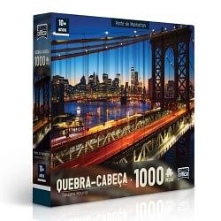 Quebra-Cabeça Paisagens Noturnas Ponte de Manhattan 1000 Peças