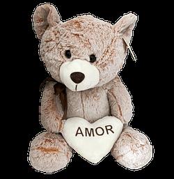 Urso de Pelucia Marrom Coracao Amor
