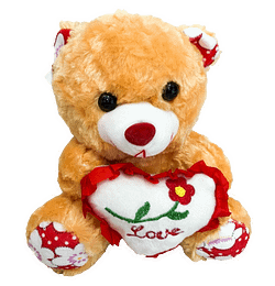 Urso de Pelucia Caramelo Coracao Love