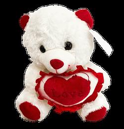Urso de Pelucia Branco Coracao Love