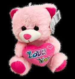 Urso de Pelucia Rosa Coracao Love You 1