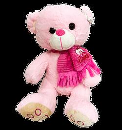Urso de Pelucia Rosa Cachecol Love