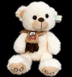 Urso de Pelucia Bege com Cachecol Amor