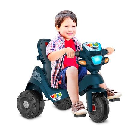 Triciclo Velobaby Reclinavel com Capota Passeio e Pedal Azul 3