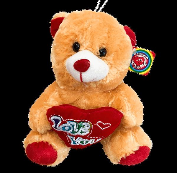 Urso de Pelucia Caramelo Coracao Love You