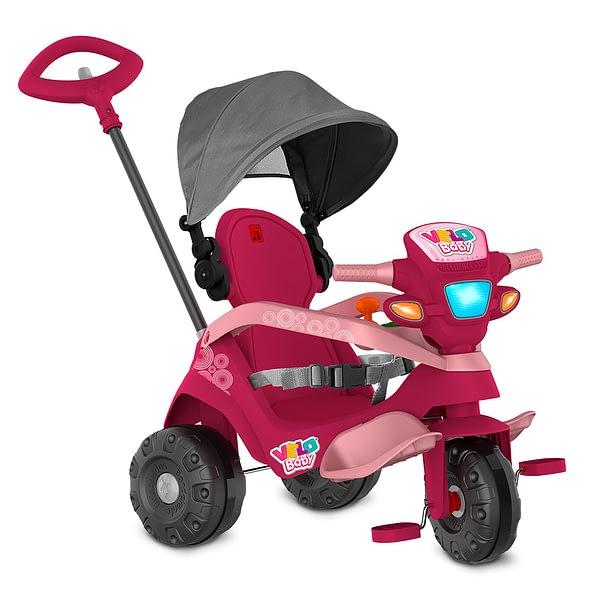 Triciclo Velobaby Reclinável com Capota Passeio e Pedal Rosa