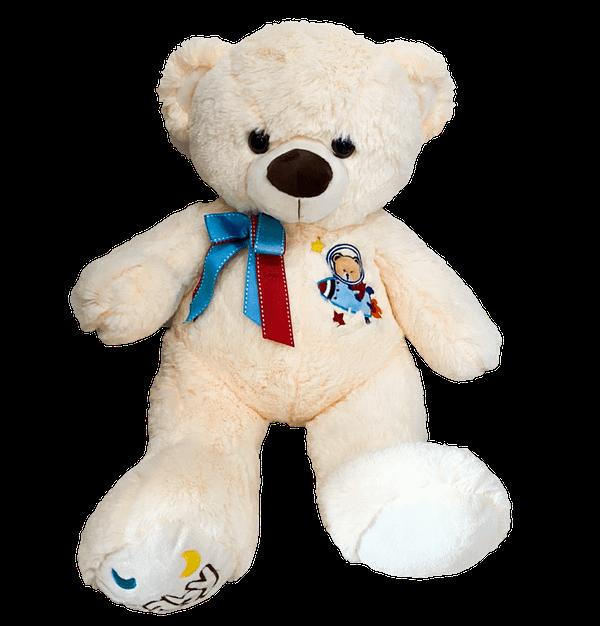 Urso de Pelucia Bege Bordado Astronauta